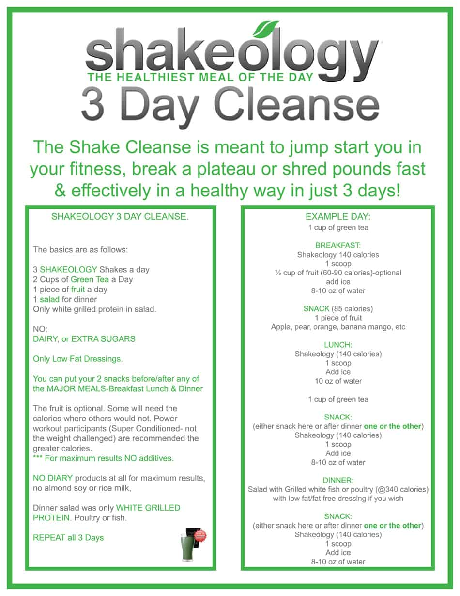 3 day shakeology cleanse instructions get max results shakeology cleanse instructions image malvernweather Choice Image