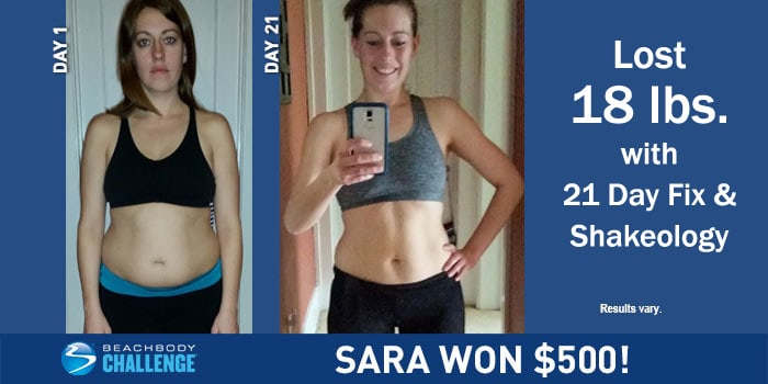 Sara suffered from chronic fatigue and epstein barr virus. With the 21 Day Fix Challenge pack she lost 18 pounds in 21 days!