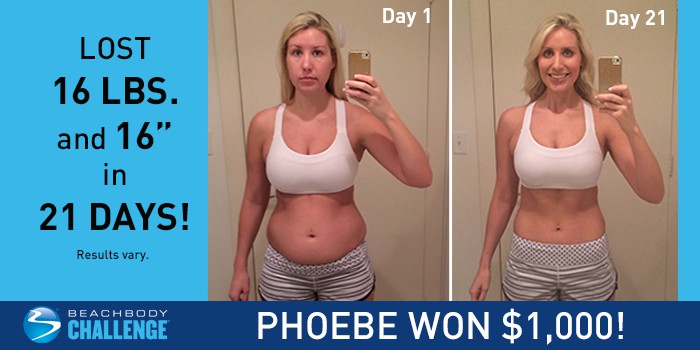 Phoebe lost 16 pounds in only 21 days with the 21 Day Fix and Shakeology!