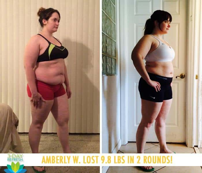 "Beachbody 3 Day Refresh results: ""I really loved the way it made me feel, and I love giving my body a chance to reset each month. This program was a life changer for me, and I think it can be something to help so many other get out of their own rut or plateau."" - Amberly W. lost 9.8 lbs in 2 rounds (1 round per month)"