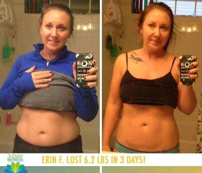 "Beachbody 3 Day Refresh reviews: ""I have recommended this to EVERYONE I know! It's so easy! I wasn't hungry at all during the 3 days, and I feel great! If I can do it, anyone can!"" - Erin F. lost 6.2 lbs"