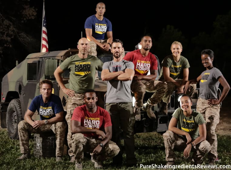 Tony Horton with Military members and 22 Minute Hard Corps shirts.