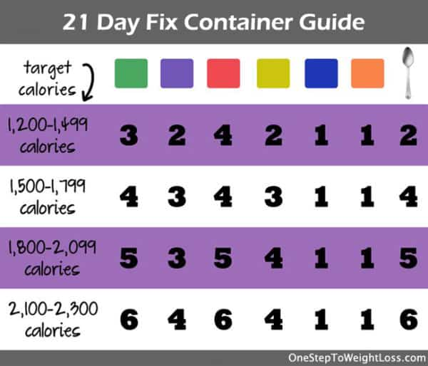 21 Day Fix Container Guide