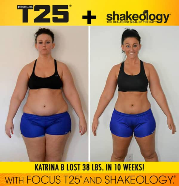 Katrina B. Lost 38 lbs. & 35 inches in 10 weeks with FOCUS T25 and Shakeology!