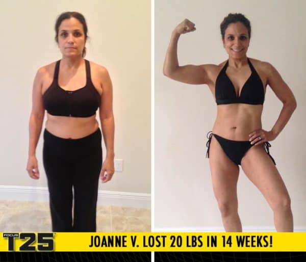 Joanne V. Lost 20 lbs in 14 weeks with Focus T25!