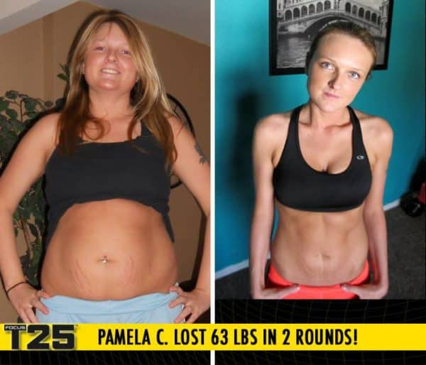 Pamela C. Lost 63 lbs in 2 rounds of Focus T25!
