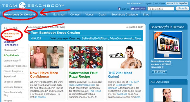 Log into Beachbody on Demand through TeamBeachbody.com