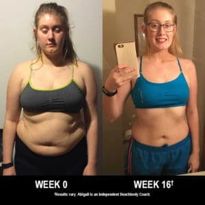 Abigail Badger lost 70 lbs. in 16 weeks with 21 Day Fix and Shakeology.